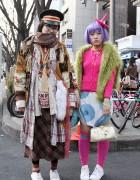 Purple Hair, Pink Hat & Layered Fashion in Harajuku