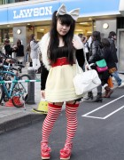Big Hair Bow, Striped Stockings & Garters in Tokyo