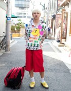 Japanese Fashionista in Sleeveless Print Hoodie