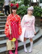 Harajuku Style Girls w/ Big Hair Bows, Bright Colors & Cute Accessories
