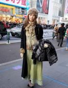 Vintage Lace, Fur Hat & Jean Paul Gaultier Bag
