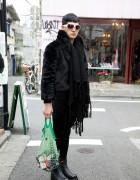 Harajuku Guy in Plush Coat, Leggings, Platform Boots