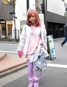 6%DokiDoki Bows, Barbie Purse & Purple Tights