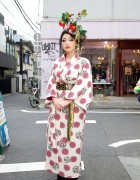 Kimono & Amazing Flower Headdress in Harajuku
