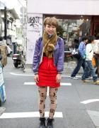 Candy Skirt, Ruffle Socks & Piercings in Harajuku