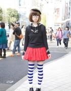 Too Cute Harajuku Girl in Glasses + Blonde Bob, Striped Socks