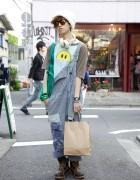 Harajuku Guy in Vintage Overalls & Mihara Yasuhiro