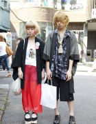 Blonde Japanese Couple in Happi Coats in Harajuku