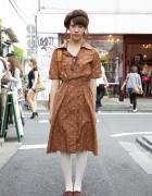 Vintage Dress w/ Beret & Tasseled Loafers