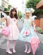 Japanese Sweet Lolita Girls' Pink & Blue Fashion in Harajuku