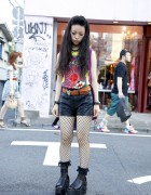 Punky Harajuku Girl in Nude N' Rude, Fishnets & Studded Platforms