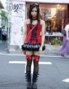 Japanese Girl's Putumayo Devil Ears, Corset Top, tutuHA Skirt & GladNews Platform Boots