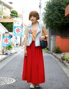 H&M Cami, Vintage Denim Vest & Maxi Skirt
