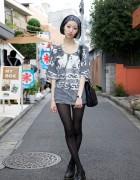 Kinsella Morika in Avant Garde Dress w/ Sheer Striped Stockings