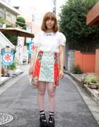 Cute Japanese Girl's Futatsukukuri skirt & Yuki Tote