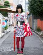 Japanese Girl's Rising Sun Purse & Chicago Resale Dress