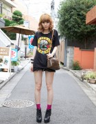 Strawberry Blonde Japanese Girl's Rocker Fashion & Glad News Platform Booties