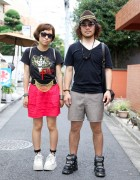 Japanese Girl's Forever 21 Chain Belt vs. Guy's Studded Hat & Sneakers