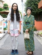 Long Hair Japanese Guy in American Apparel & Japanese Kimono Girl