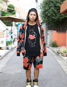 Joyrich Harajuku Guy in Rose Hoodie Set & Jeremy Scott x Adidas Flame Shoes