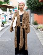 Japanese Girl's Short Pink Hair, Leopard Print, Pocket Watch & Yukari Miyagi Bag