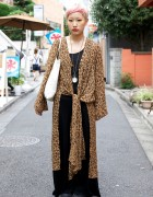 Japanese Girl's Short Pink Hair, Leopard Print, Pocket Watch & Yukari Miyagi Bag