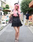 Pink-Haired Girl's Short Tiered Skirt, Sleeveless Vest & Swimmer Purse
