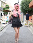 Pink-Haired Girl's Short Tiered Skirt, Sleeveless Vest & Swimmer Purse