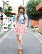 Japanese Schoolgirl's Tucked Blouse, Floral Skirt & Woven Sandals