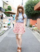 Japanese Schoolgirl's Tucked Blouse, Floral Skirt & Woven Sandals