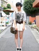 Cute Girl's Tiered Mini Skirt & Wego Spectator Shoes