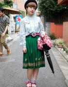 Harajuku Dolly Girl's Felt Hat & Dirndl Skirt
