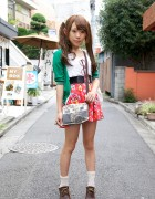 Harajuku Girl's Twin Tails Hairstyle, Betty Boop Skirt & Camera Purse