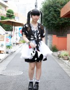 Himitsu Kessya Ririan w/ Braids-&-Bangs Hairstyle, Studded Platforms & Panda Bag