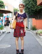 Ayaka's Embellished UTA Top & Plaid Dog Shorts