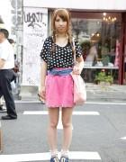 Spank! Fan's Polka Dot Top, Pink Studded Skirt & Ruffle Socks in Harajuku