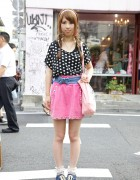Spank! Fan's Polka Dot Top, Pink Studded Skirt & Ruffle Socks in Harajuku