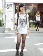 Pierced Harajuku Girl's Zombie Dress, Creepers & Screw Cross Necklace