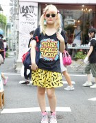 Tribe Called Quest Top, Batman Skirt & Nadia Platform Converse in Harajuku