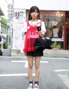 Japanese Girl's Safety Pin Necklace, Cross Earrings & Platform Sneakers
