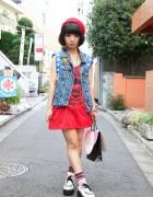 WC by Chinatsu Wakatsuki Dress, Denim Vest, Eyeball Beret & Creepers in Harajuku