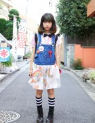 Harajuku Girl's Remade Overalls, Bow Tie & Soccer Socks