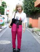 Blonde & Green-Haired Girl's Novelty T-Shirt, Chiffon Pants & Corset