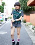 Japanese Girl in Cutoff Denim Shorts, Remake Vest, Sneakers & Vintage Versace