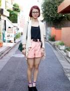 Beauty Student's Fuchsia Hair, Pink Shorts, Haight & Ashbury Sweater