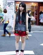Punk's Not Dead Top, Nadia Harajuku Cherry Earrings & Platform Converse