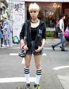 Harajuku Girl's RNA Hoodie, Nadia Shorts, Striped Tube Socks & Yellow Creepers