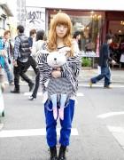 Harajuku Bunny Girl in Zebra Print, Cuffed Pants & Boots