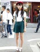 Harajuku Girl's Pleated Suspender Shorts, High Heel Loafers & Cherry Earrings