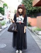 L'Arc-en-Ciel Fan's Sexy Dynamite London Top, Spinns Harajuku Skirt & Givenchy Bag